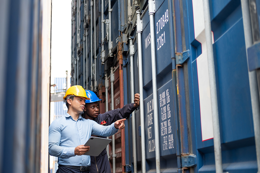 Supply chain operators doing an inspection to a container